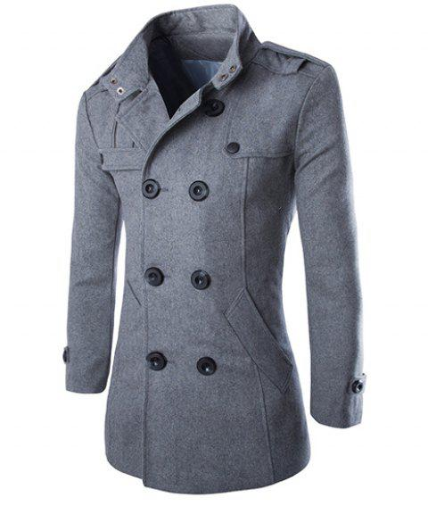 Epaulet Design Turn-Down Collar Double Breasted Long Sleeve Woolen Men's Peacoat - GRAY 2XL