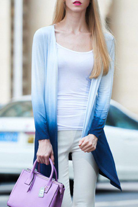 Stylish Open Front Long Sleeve Ombre Color Women's Trench Coat - BLUE/WHITE 3XL