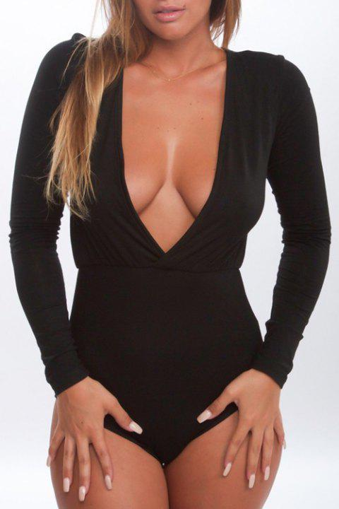 Stylish Plunging Neck Long Sleeves Pure Color Women's Bodysuit - BLACK L