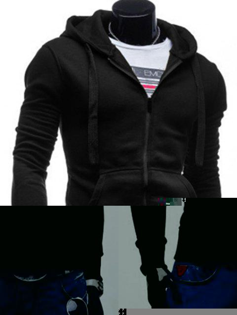 Simple Drawstring Hooded Front Pocket Solid Color Fitted Men's Long Sleeves Hoodie - BLACK M
