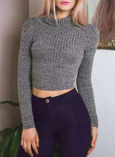 Stylish Turtleneck Solid Color Long Sleeve Cropped Sweater For Women - DEEP GRAY S