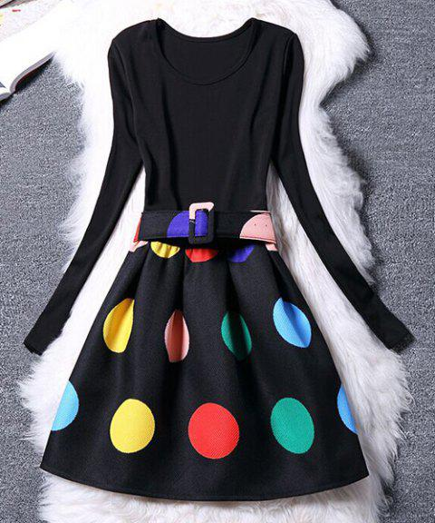 Long Sleeve Scoop Neck Colorful Dress For Women - BLACK S