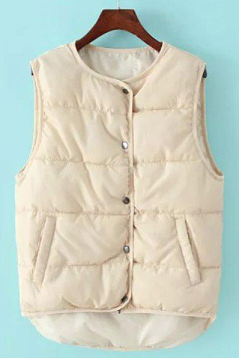 Stylish Women's Jewel Neck Solid Color Asymmetric Waistcoat - OFF WHITE ONE SIZE(FIT SIZE XS TO M)