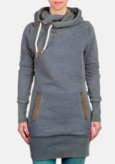 Charming Thick Skew Hooded Pocket Design Long Pullover Hoodie For Women -  GRAY S 963ccdcf4