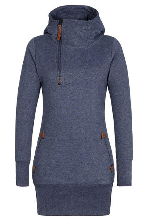 Stylish Hooded Long Sleeve Zip Up Spliced Women's Hoodie - PURPLISH BLUE XL
