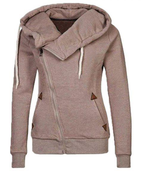 Trendy Hooded Skew Zippered Thick Long Sleeve Hoodie For Women - KHAKI M