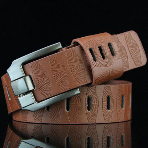 Stylish Pin Buckle Stripy Men's PU Wide Belt - BROWN