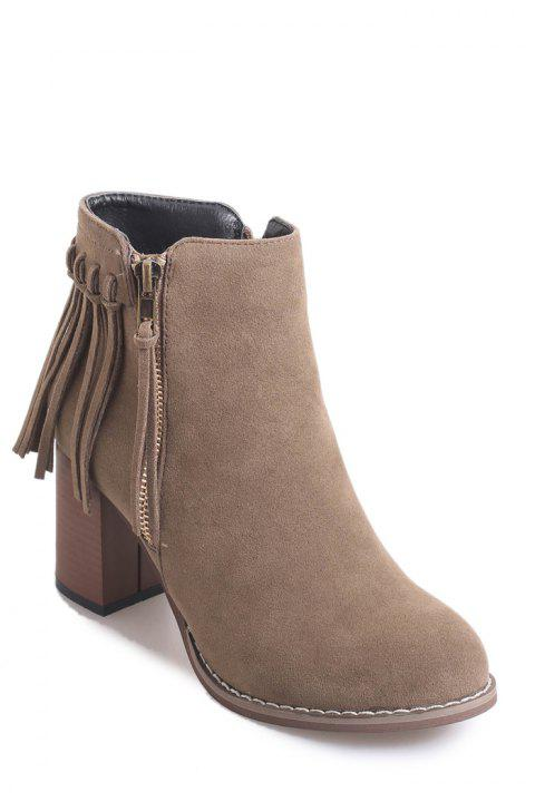Simple Chunky Heel and Fringe Design Women's Short Boots - KHAKI 39