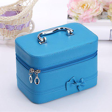 Sweet Solid Color and Bowknot Design Cosmetic Bag For Women - BLUE