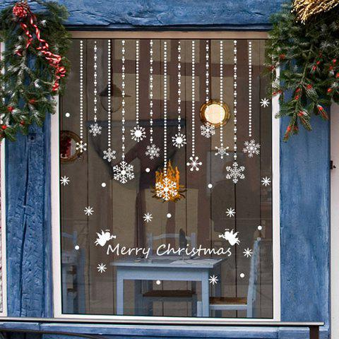 Good Quality Removeable Snowflake Curtain Pattern Wall Sticks Christmas Decoration - WHITE