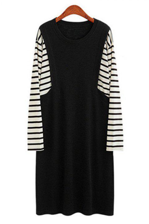 Casual Striped Spliced Jewel Neck Long Sleeve Plus Size Dress For Women - BLACK 3XL