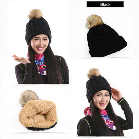 Marsnow NM09 Women Warm Bobble Hat Windproof for Cycling Skiing - BLACK