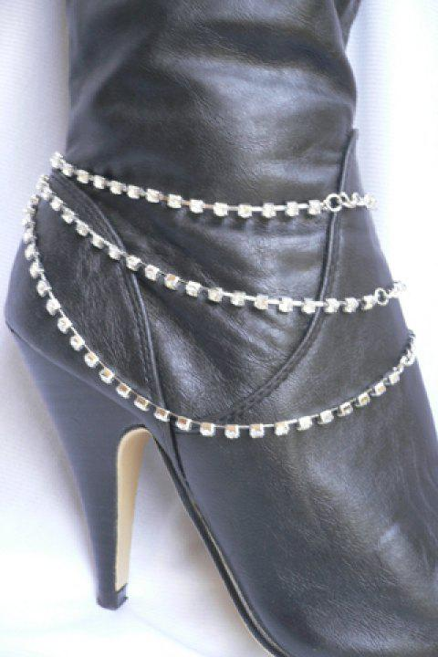 Multilayer Rhinestone Claw Chain Boot Anklet - SILVER