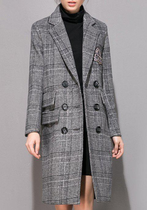 Stylish Long Sleeve Turn-Down Collar Double-Breasted Gingham Women's Coat - GRAY L