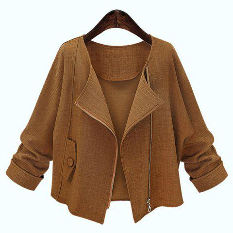 Long Sleeve Pure Color Jacket For Women - DEEP BROWN S