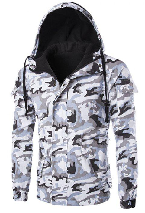 19188908da4a1 Stereo Patch Pocket French Front Drawstring Hooded Long Sleeves Men's Fitted  Camo Jacket - WHITE/