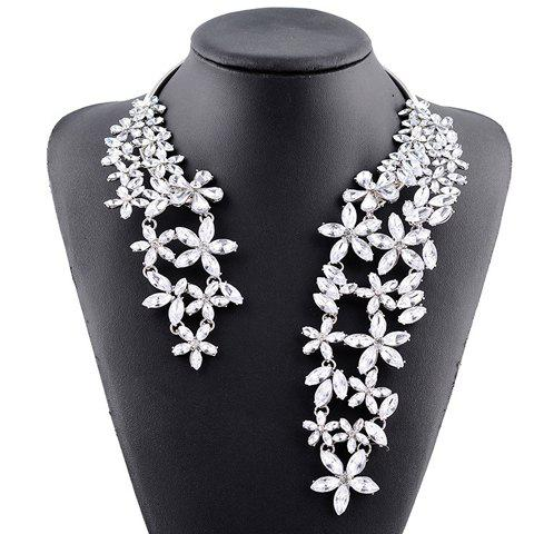 Rhinestone Floral Hollow Out Cuff Necklace - WHITE