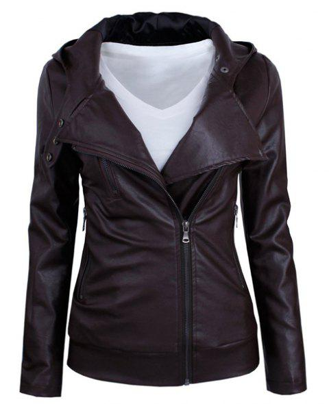 Long Sleeve Faux Leather Jacket - DARK AUBURN XL