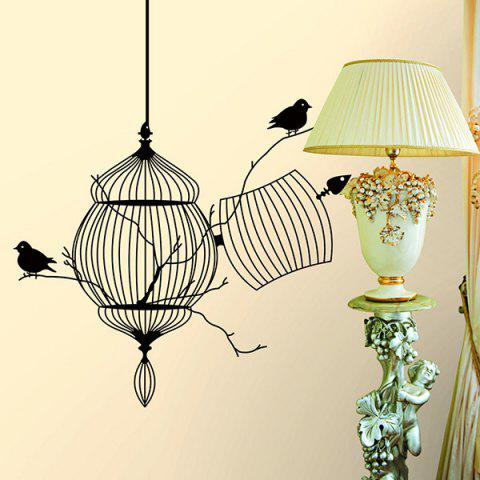 High Quality Bird Cage Pattern Removeable Waterproof Decorative Wall Sticker - BLACK