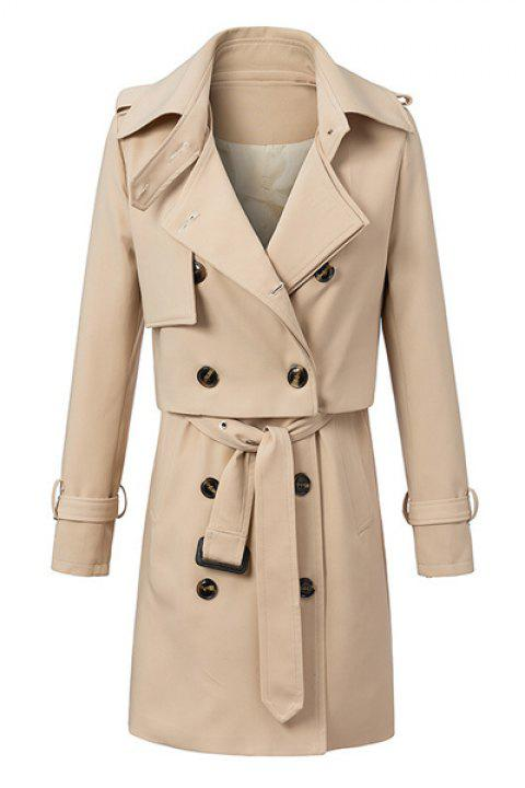 Stylish Solid Color Waistcoat and Turn-Down Collar Long Sleeves Trench Coat Women's Twinset - KHAKI M