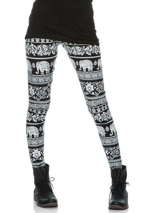 Slimming Elephant Print Skinny Women's Thick Leggings - BLACK S