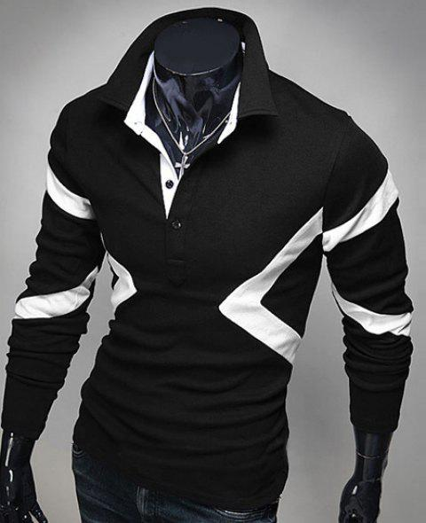 Hot Sale Turn-down Collar Color Block Triangle Spliced Slimming Long Sleeves Men's Polo T-Shirt - BLACK 2XL