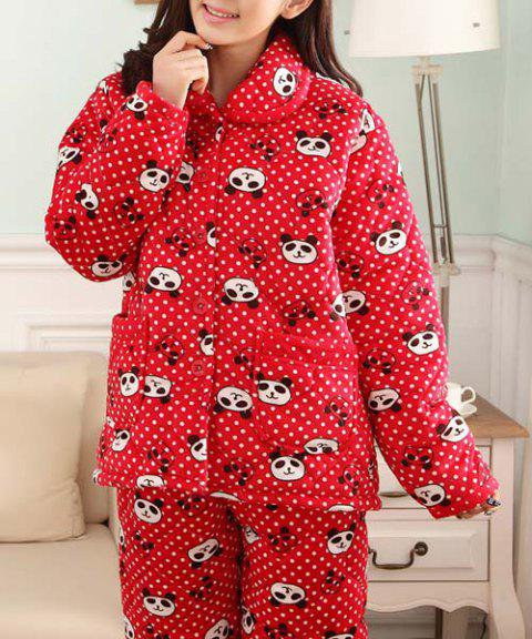 Fresh Style Shirt Collar Bear Printed Flannel Coat and Pants Twinset Pajama For Women - RED XL
