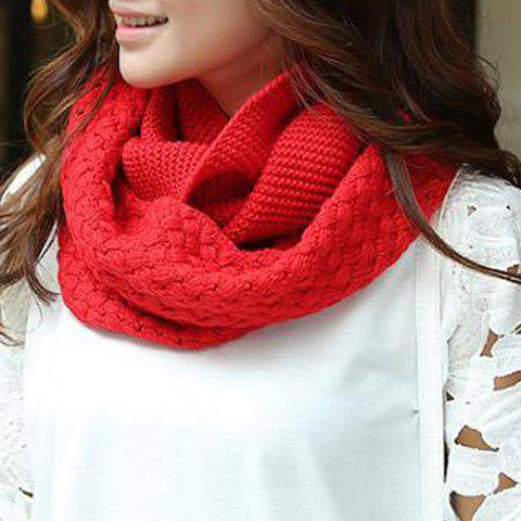 Chic Solid Color Crocheting Women's Knitted Infinity Chunky Scarf - RED