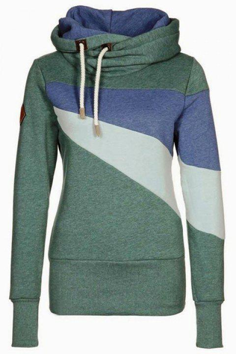 Chic Long Sleeve Hooded Hit Color Women's Hoodie - GREEN M