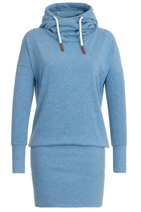 Stylish Long Sleeve Hooded Women's Hoodie Dress - LAKE BLUE M