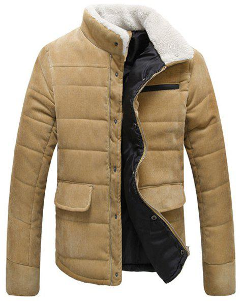 Fur Collar PU Leather Spliced Flap Pocket Long Sleeves Fitted Men's Thicken Corduroy Padded Coat - KHAKI L