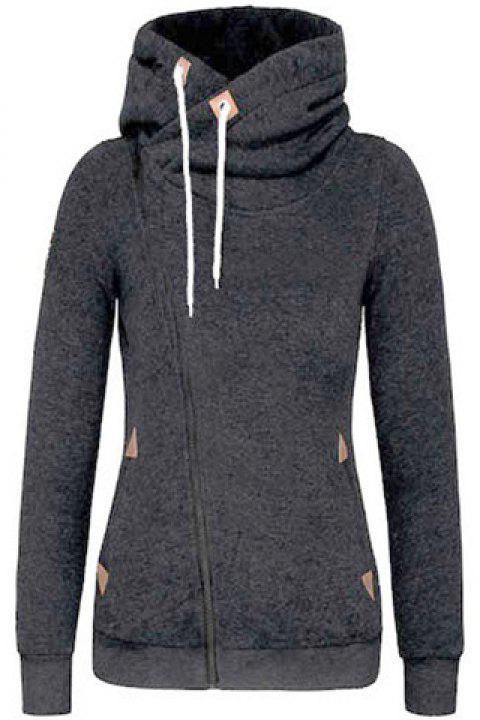 Trendy Hooded Skew Zippered Thick Long Sleeve Hoodie For Women - DEEP GRAY XL