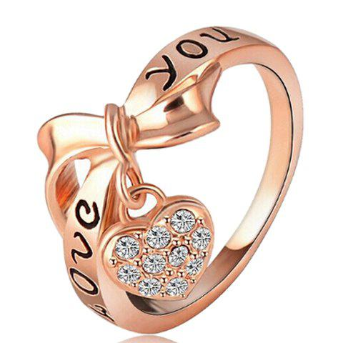 Graceful Rhinestone Bow Heart Shape Ring For Women - WHITE ONE-SIZE