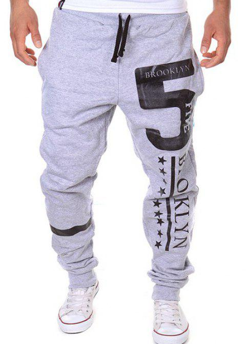 Hot Sale Beam Feet Letters Number Star Print Loose Fit Men's Lace-Up Sweatpants - LIGHT GRAY L