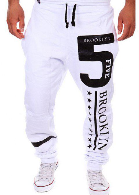 Hot Sale Beam Feet Letters Number Star Print Loose Fit Men's Lace-Up Sweatpants - WHITE L