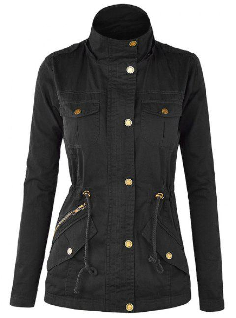 Casual Stand-Up Collar Long Sleeve Drawstring Solid Color Women's Jacket - BLACK L
