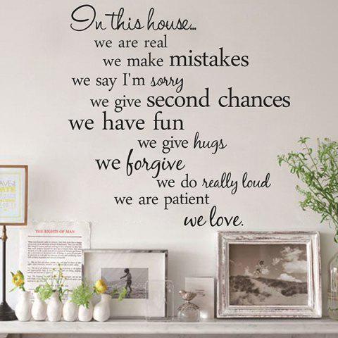 Creative 55.8*55.8cm Removable Proverbs In This House Wall Stickers For Homes - BLACK