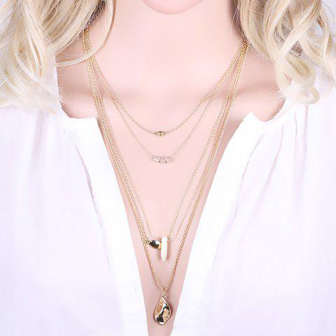 Trendy Layered Faux Crystal Stone Sweater Chain For Women - SILVER