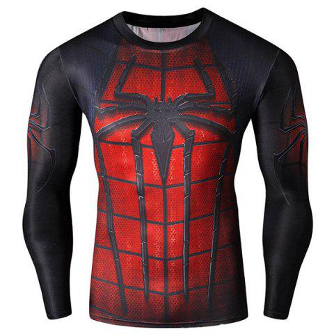 Cool 3D Spider-Man Print Hit Color Skinny Quick-Dry Round Neck Long Sleeves Men's Superhero T-Shirt - COLORMIX L