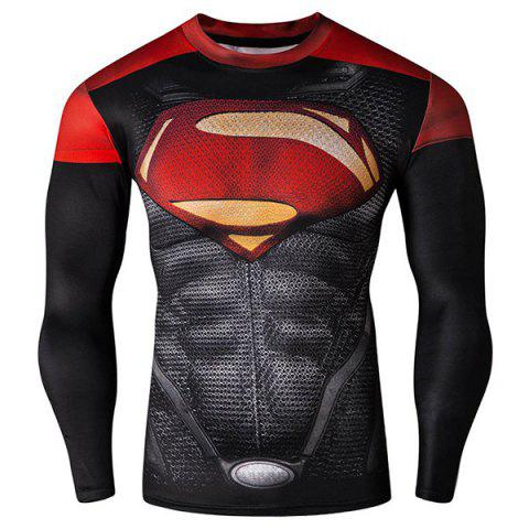 Cool 3D Superman Pattern Color Block Skinny Round Neck Long Sleeves Men's Quick-Dry T-Shirt - COLORMIX 2XL