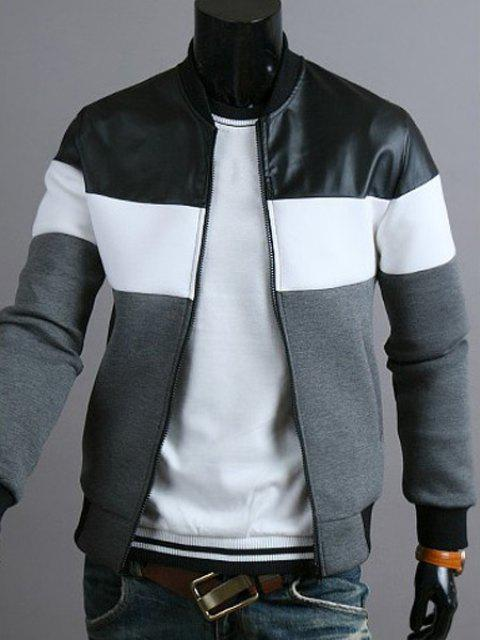 Classic Color Block PU Leather Spliced Rib Hem Stand Collar Long Sleeves Men's Slimming Jacket - DEEP GRAY 2XL