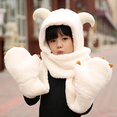 Chic Cute Sheep Horn Shape Embellished Kids' Integrated Hat Scarf - WHITE