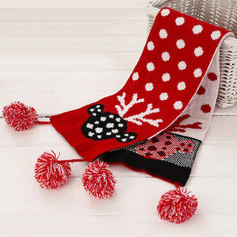 Chic Small Ball Pendant Polka Dot and Deer Head Pattern Girls' Christmas Scarf - RED