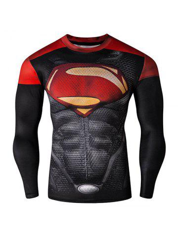 Cool 3D Superman Pattern Color Block Skinny Round Neck Long Sleeves Men's Quick-Dry T-Shirt