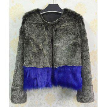 Stylish Faux Fur Long Sleeve Color Block Coat For Women