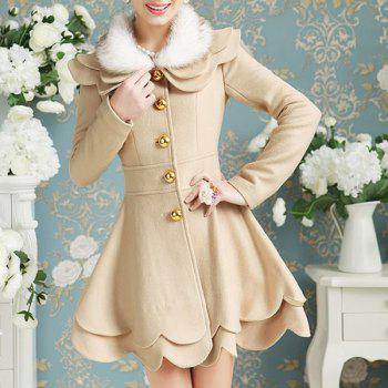 Elegant Long Sleeve Turn-Down Collar Layered Faux Fur Spliced Women's Coat