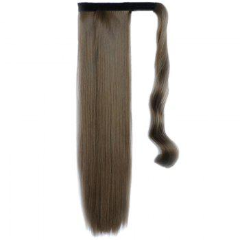 Graceful Hook & Loop Long Capless Stylish Glossy Straight Synthetic Women's Ponytail - BROWN 68# BROWN