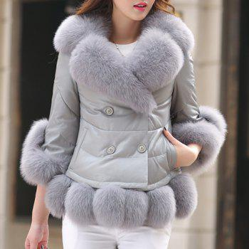 Stylish Women's 3/4 Sleeve Faux Fur Embellished Down Coat