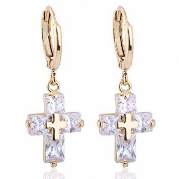 Pair of Trendy Faux Crystal Cross Shape Earrings For Women