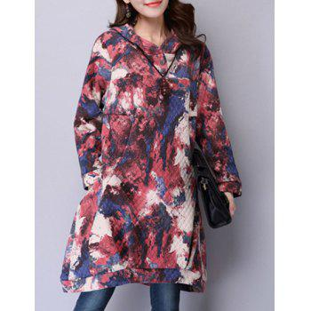Stylish Hooded Long Sleeve Printed Loose-Fitting Women's Dress